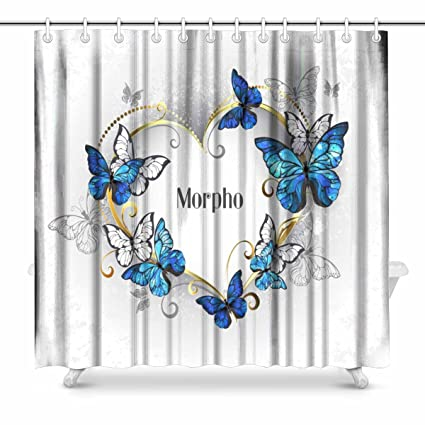 INTERESTPRINT Jeweled Golden Heart With Blue And White Realistic Butterflies Morpho Fabric Bathroom Shower Curtain