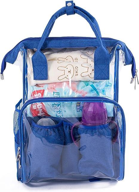 Beeviuc Bolso Cambiador De Bebe Transparente Para Panales Mochila Multifuncion Impermeable Con Bolsillos Aislados Para El Cuidado Del Bebe Azul Azul Amazon Es Bebe
