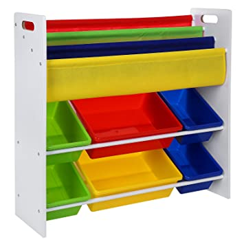 Songmics Toy Storage Unit with 9 Plastic Bins