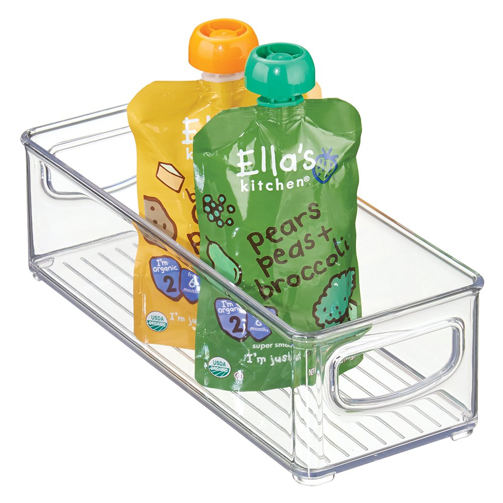 """mDesign Kitchen Refrigerator Cabinet or Pantry Baby Food Storage Organizer Bin with Handles for Breast Milk, Pouches, Jars, Bottles, Formula, Juice Boxes - BPA Free, 10"""" x 4"""" x 3"""" - Clear"""