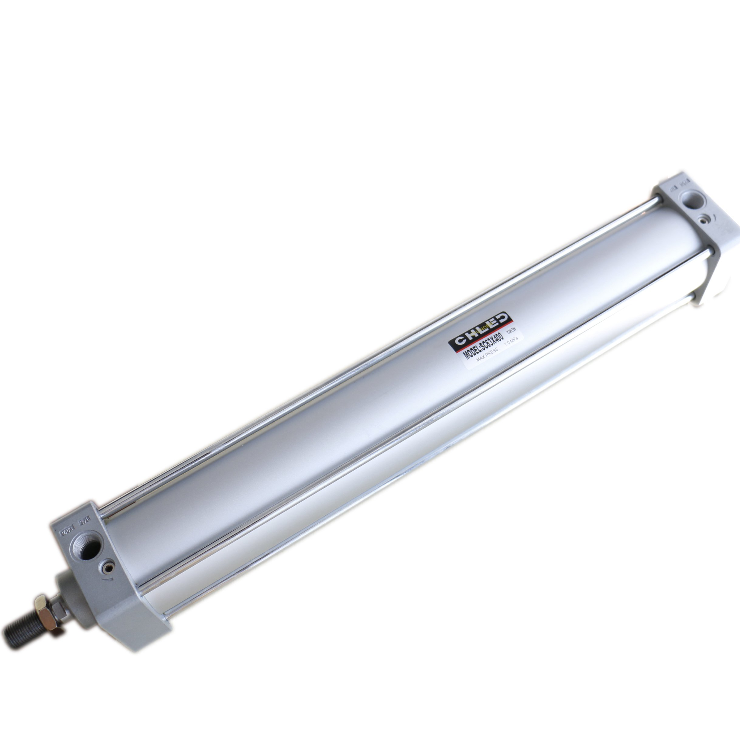 Baomain Pneumatic Air Cylinder SC 63 x 400 PT 3/8, Bore: 2 1/2 inch, Stroke: 16 inch, Screwed Piston Rod Dual Action