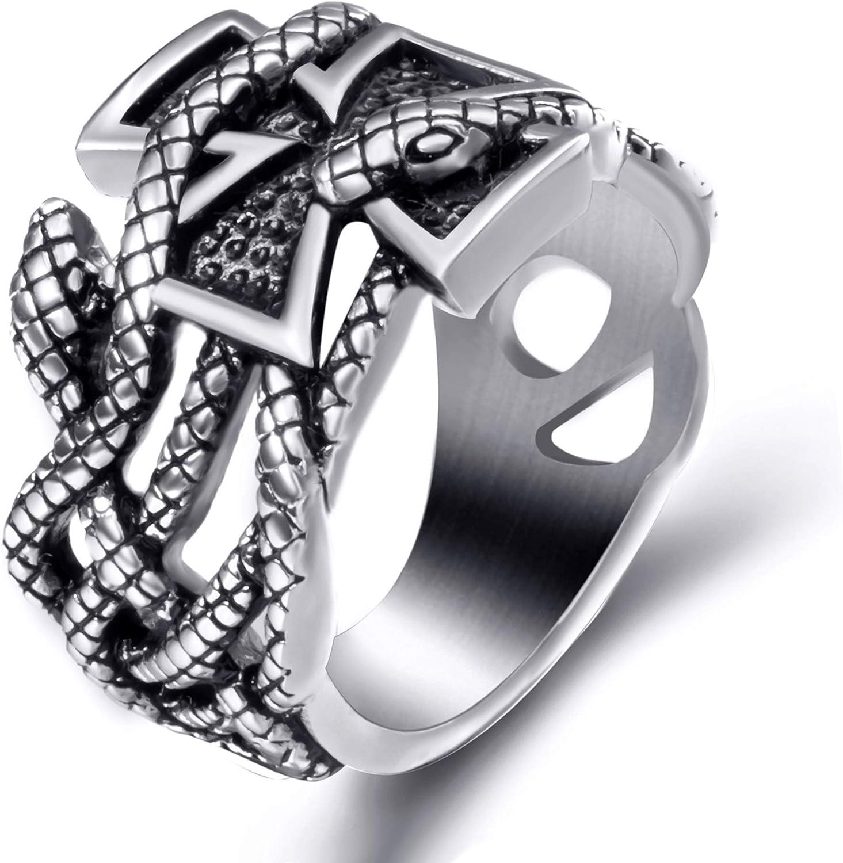 Elfasio Men Stainless Steel Rings Iron Cross Snake Serpent Masonic Biker Vintage Ring