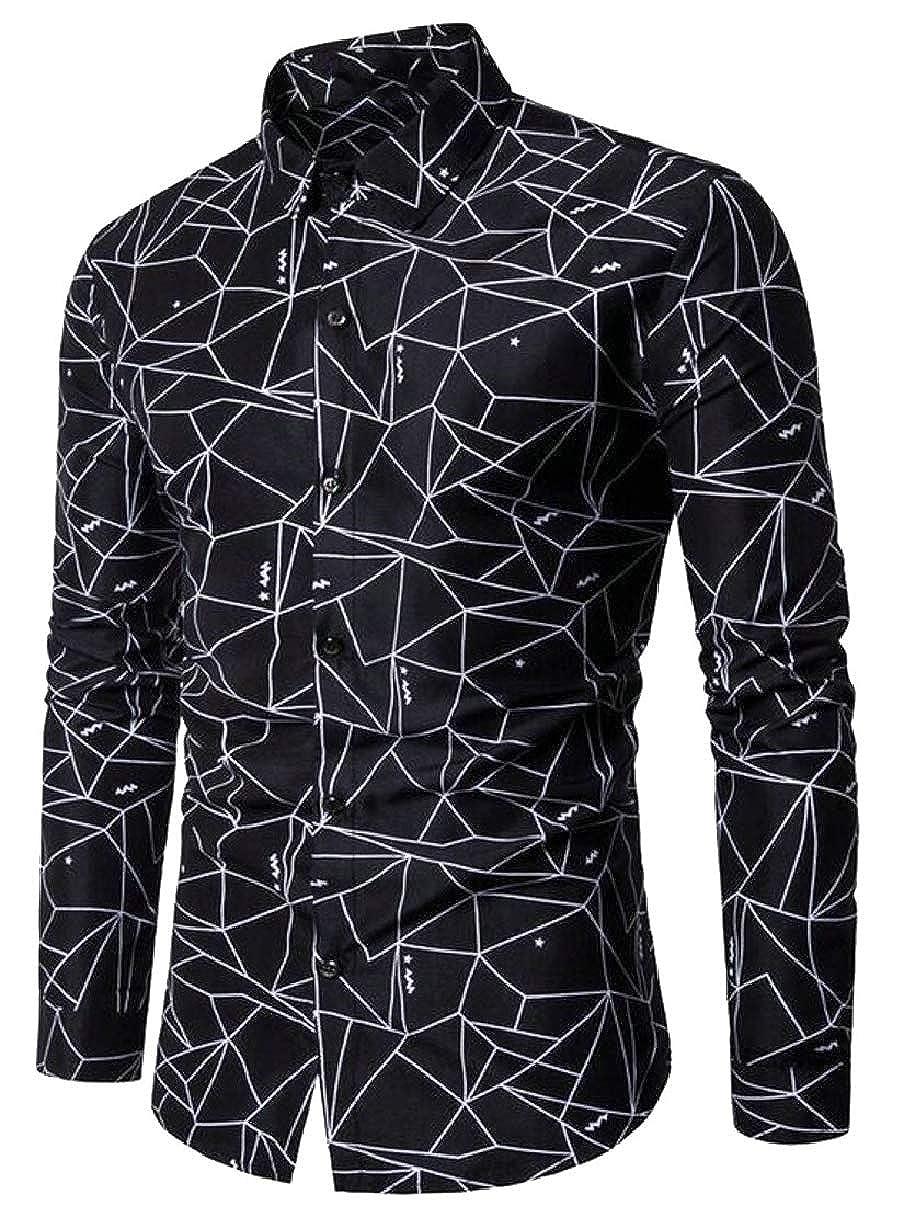 YIhujiuben Mens Casual Button Down Shirt Geometric Print Long Sleeve Shirts Tops