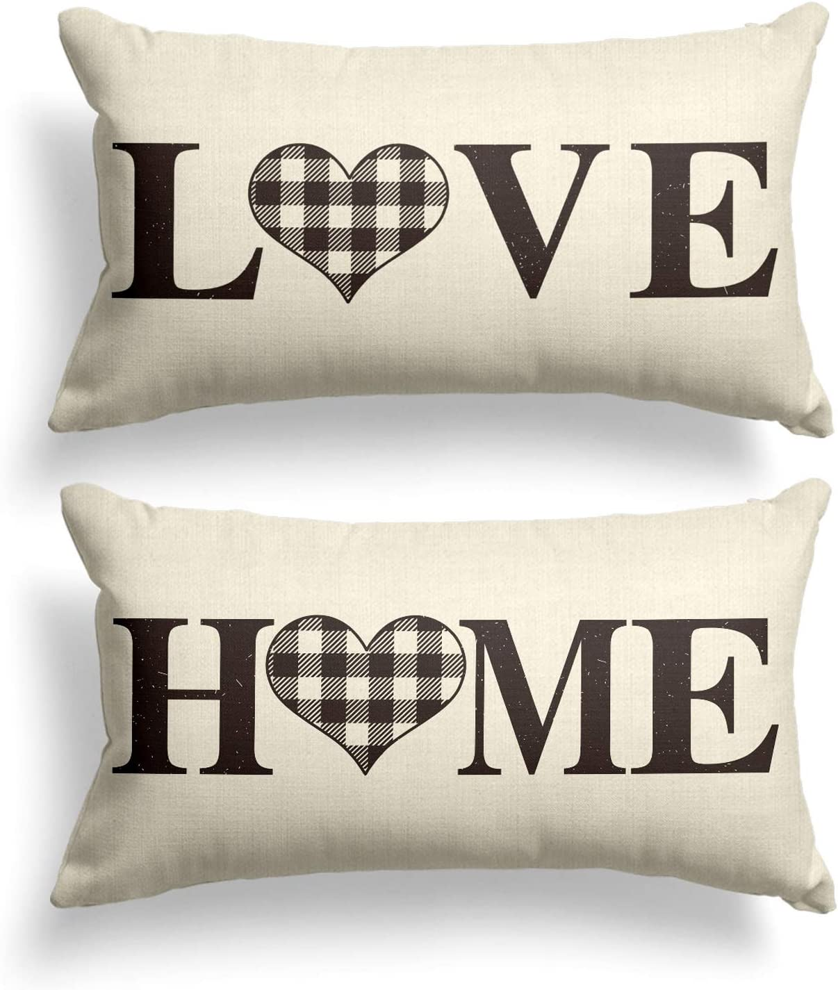 AVOIN Set of 2 Buffalo Check Plaid Love Heart Home Throw Pillow Cover, 12 x 20 Inch White and Black Holiday Fall Thanksgiving Rustic Farmhouse Cushion Case for Sofa Couch