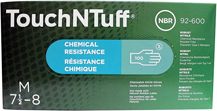 Ansell 92-600 TouchNTuff Robust Nitrile Disposable Gloves Box of 100