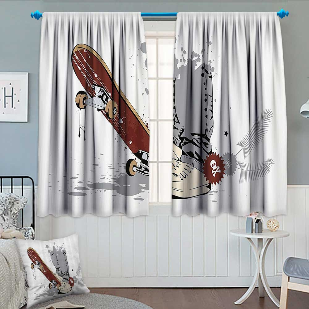 """Strongger Teen Room Decor Thermal Insulating Blackout Curtain Skateboard with Boy Feet in Sneakers and Jeans Illustration Patterned Drape for Glass Door 52""""x63"""" Grey Cream Chestnut Brown"""