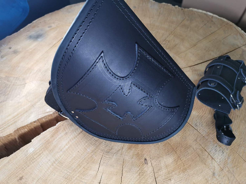 MALTESER BLACK von ORLETANOS kompatibel mit Schwingentasche Satteltasche Harley Davidson Softail Fatboy Heritage Starrahmen VN900 VN800 Tasche Motorradtasche