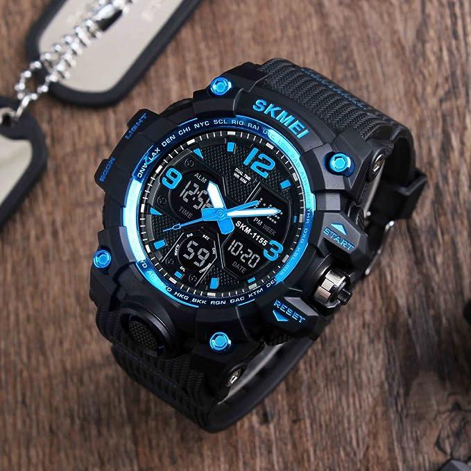Reloj electrónico digital de cuarzo Randon para adolescentes, militar, deportivo, con zona horaria dual, para negocios, informal, con luz de fondo, ...