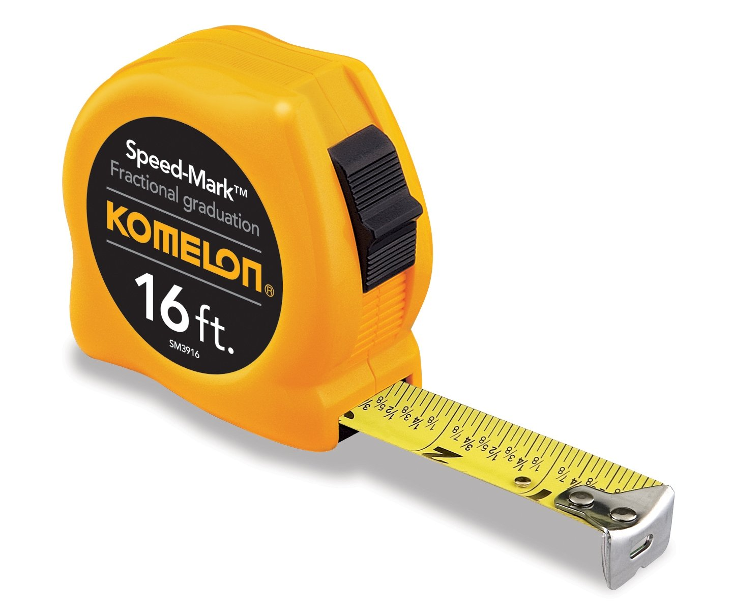 Komelon SM3916 Speed Mark Acrylic Coated Steel Blade Tape Measure 16-Feet by 3/4-Inch, Yellow Case