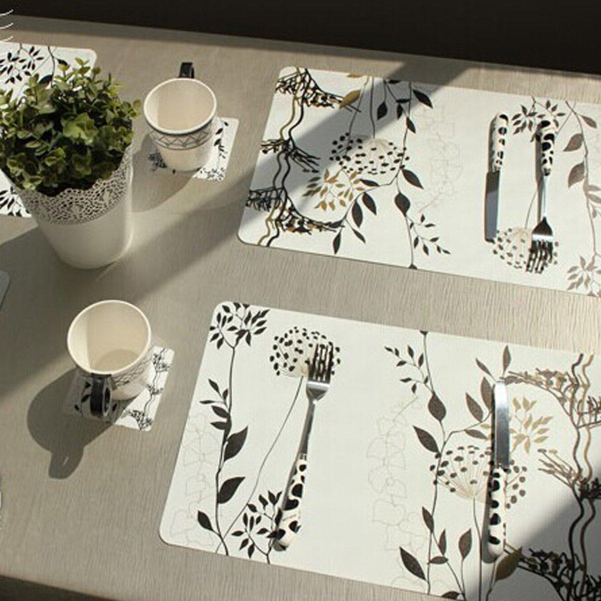 amazon com hqdeal placemats table mats set of 6 unique design art