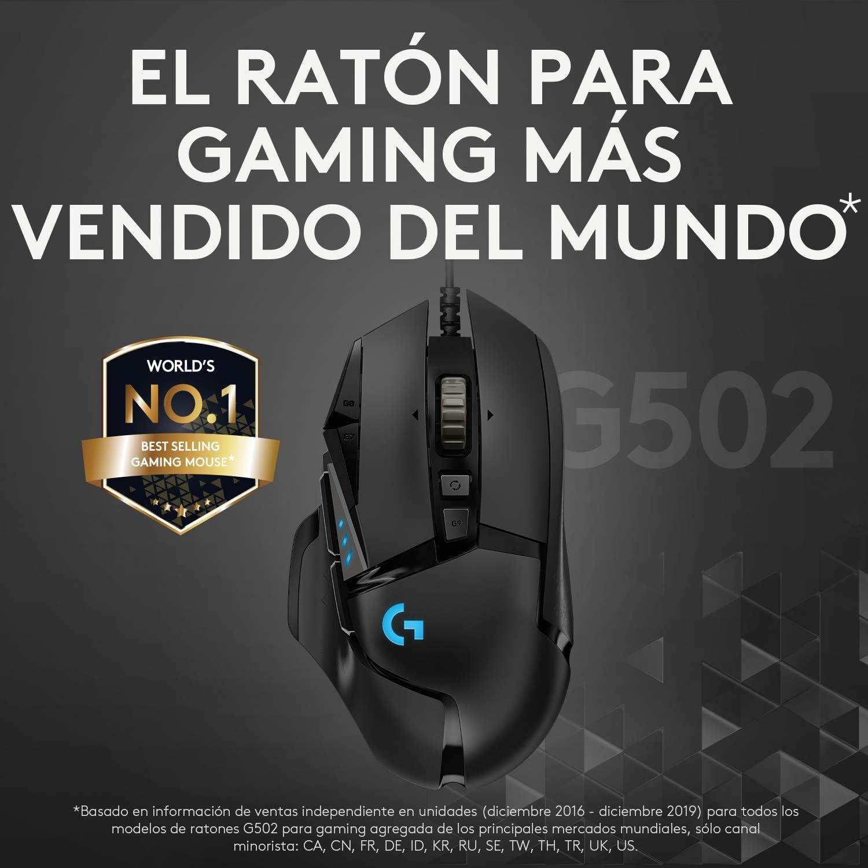 Logitech G502 HERO Ratón Gaming con Cable Alto Rendimiento, Captor HERO 25K, 25,600 DPI, RGB, Peso Personalizable, 11 Botones Programables, Memoria ...