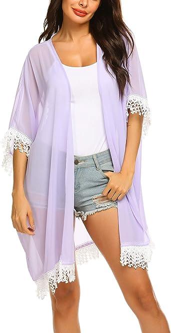 Womens Purple Medium Summer Floral Print Sleeved Chiffon Kimono