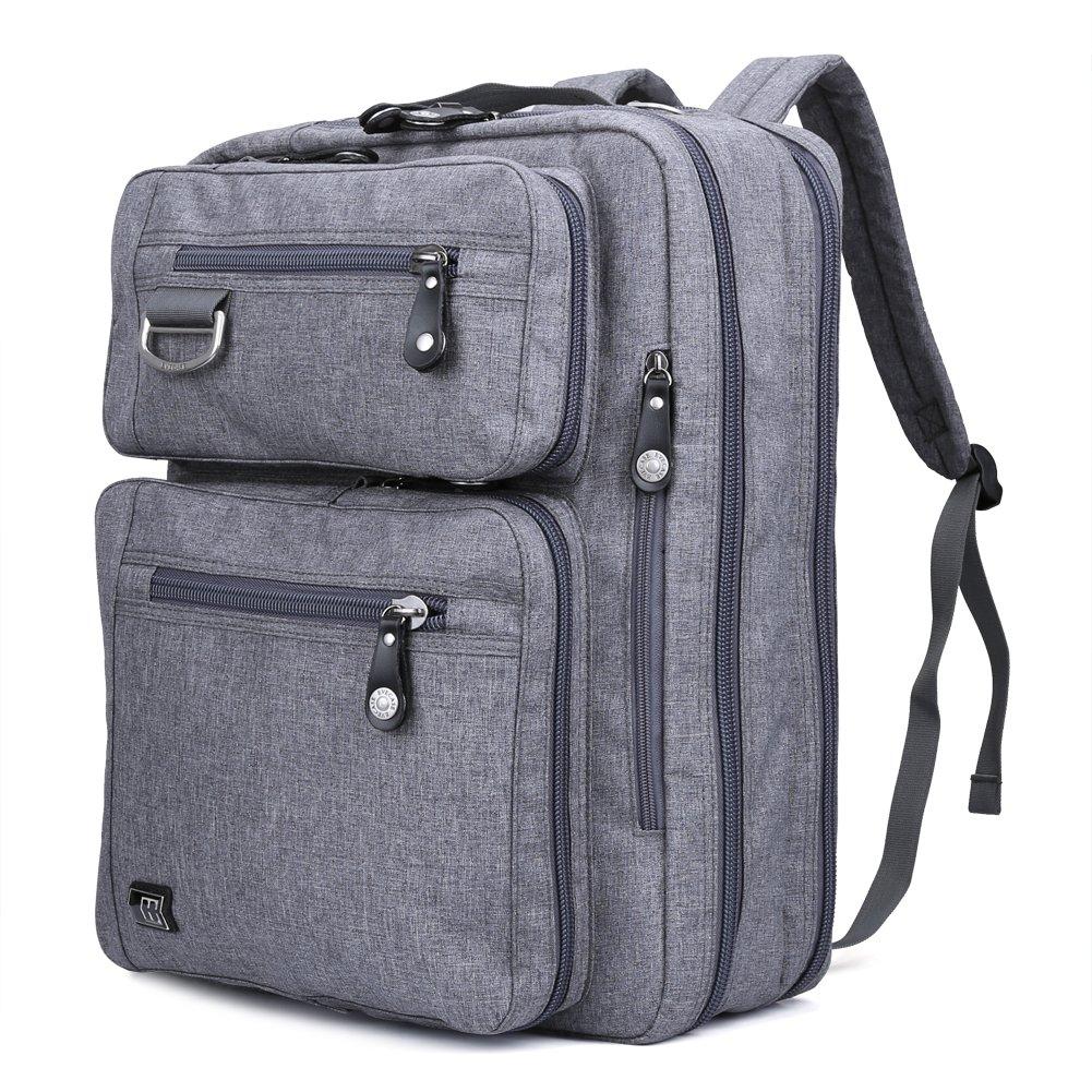 17.3 Laptop Backpack Messenger Bag - Evecase Professional Backpack Carrying Messenger Shoulder Case Bag Fits Up to 17.3 inch Laptop Chromebook Macbook - Gray 885157976664