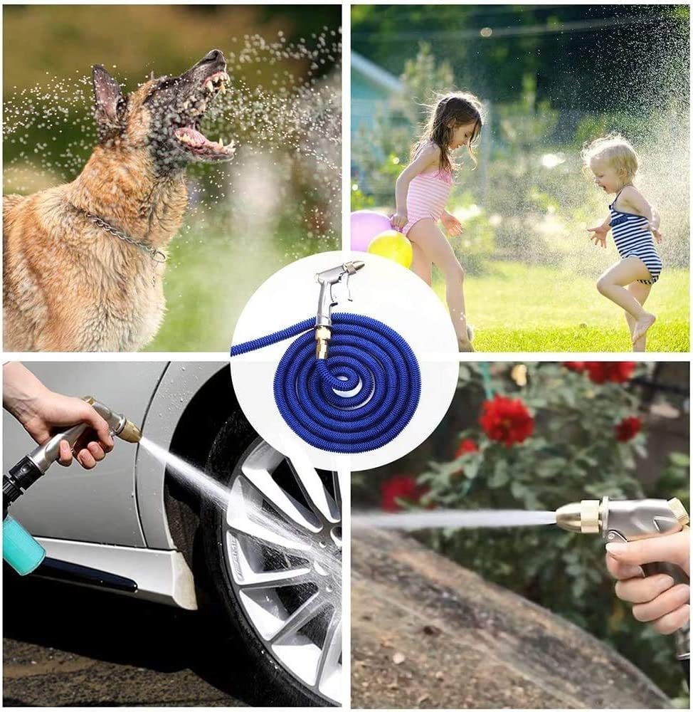 FHUILI Household Expandable Garden Hose - Telescopic Water Pipe with Solid Brass Connector - Multifunction Water Garden Hose with Water Gun for Garden, Lawn 15M