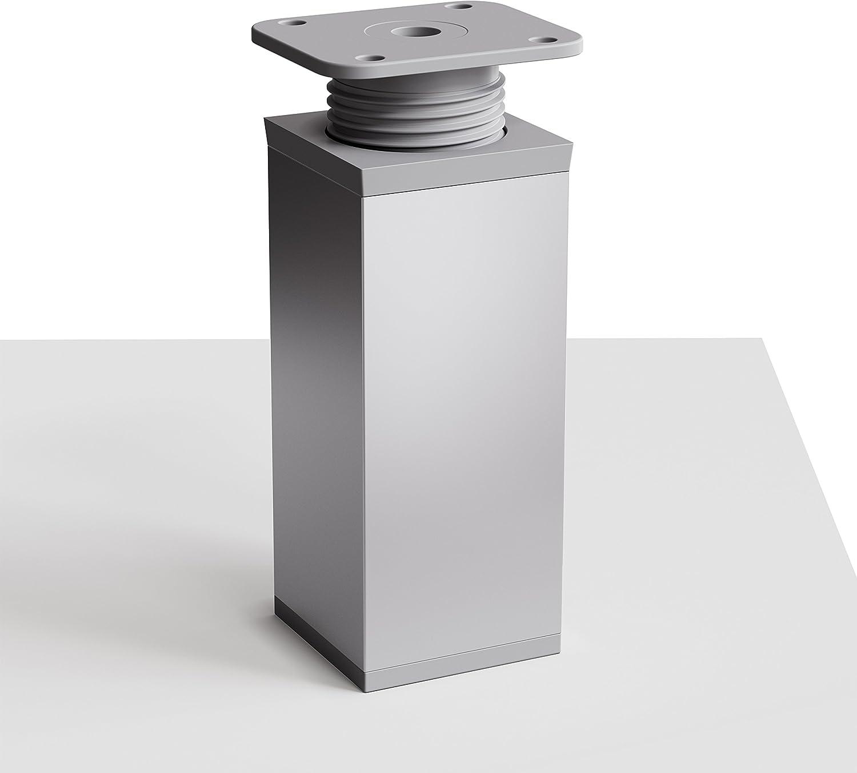 sossai® Patas para muebles MFV1 | 4 piezas | altura regulable | Diseño: Alu | Altura: 100 mm (+20mm) | Perfil cuadrado: 40 x 40 mm |Tornillos ...