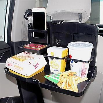 Coche Bandeja ezykoo plegable coche bebida Bandeja de Alimentos con portavasos multifuncional negro auto asiento trasero mesa escritorio: Amazon.es: Coche y ...