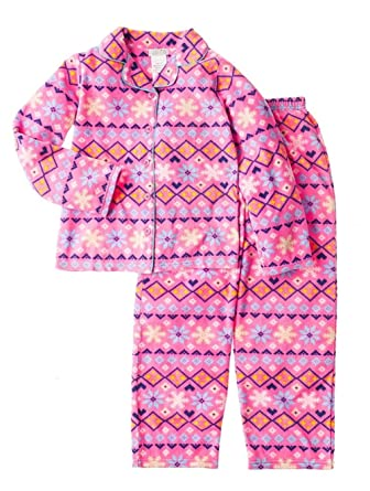 Amazon.com  Komar Kids Girls Fair Isle Fleece Snowflake 2-pc Pajama ... 3ca4a1ead