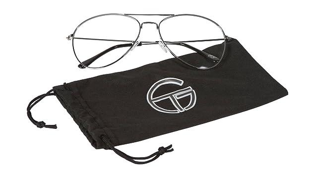 5edc3afc1c Gravity Shades Silver Frame Clear Lens Aviator Sunglass w Micofiber Case   Amazon.in  Shoes   Handbags