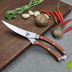 Heavy Duty Kitchen Shears, Food Grade Stainless Steel Poultry Shears Kitchen Cutting Scissors with Sharp Blade Auto-reset Spring Wood Handles