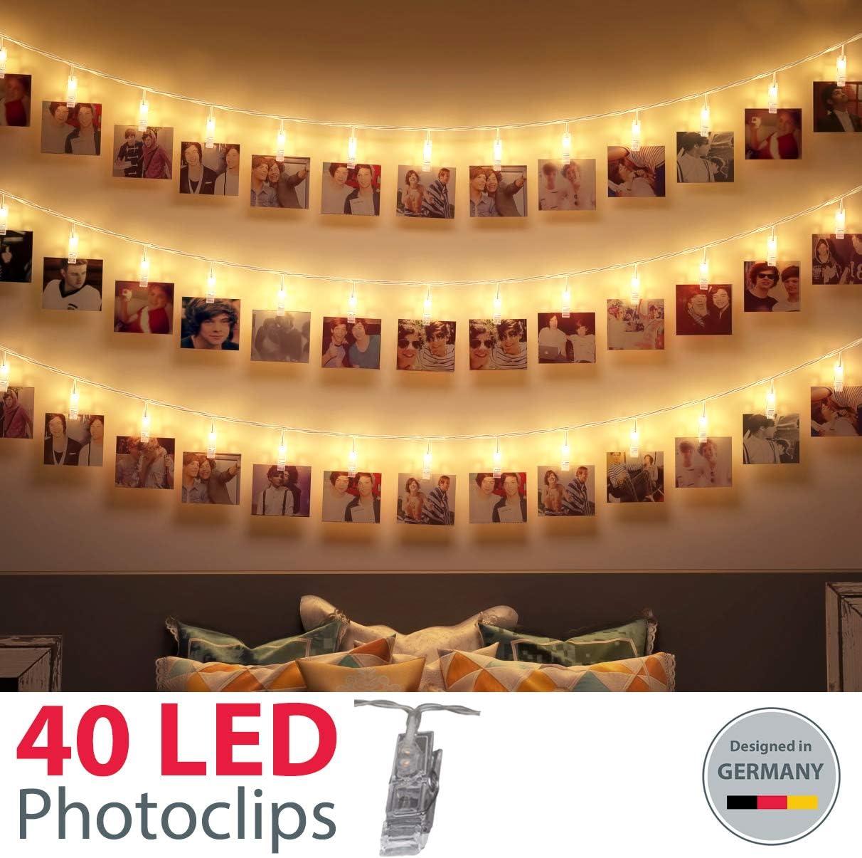 Guirnalda de Luces para Decoración de Fotos I 40 LEDs 5m I Pinzas fotos I Fotoclips I Clip Cadena de Luces