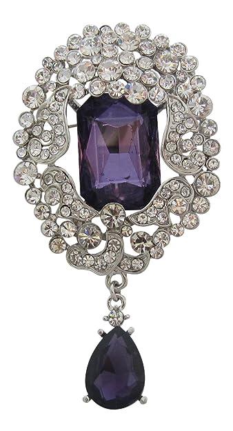 7d27c7b4971f87 Brosche Boutique groß Vintage inspiriert violett und Swarovski Kristall  Kleid Brosche Amethyst Tropfen Brosche