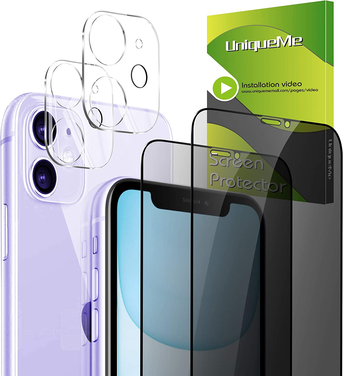 "[4 Pack] UniqueMe Camera Lens Protector for 2 Pack iPhone 11 6.1"" + Privacy Screen Protector for 2 Pack Tempered Glass Full Coverage [NewVersion]AddCamerasFlashCircle"