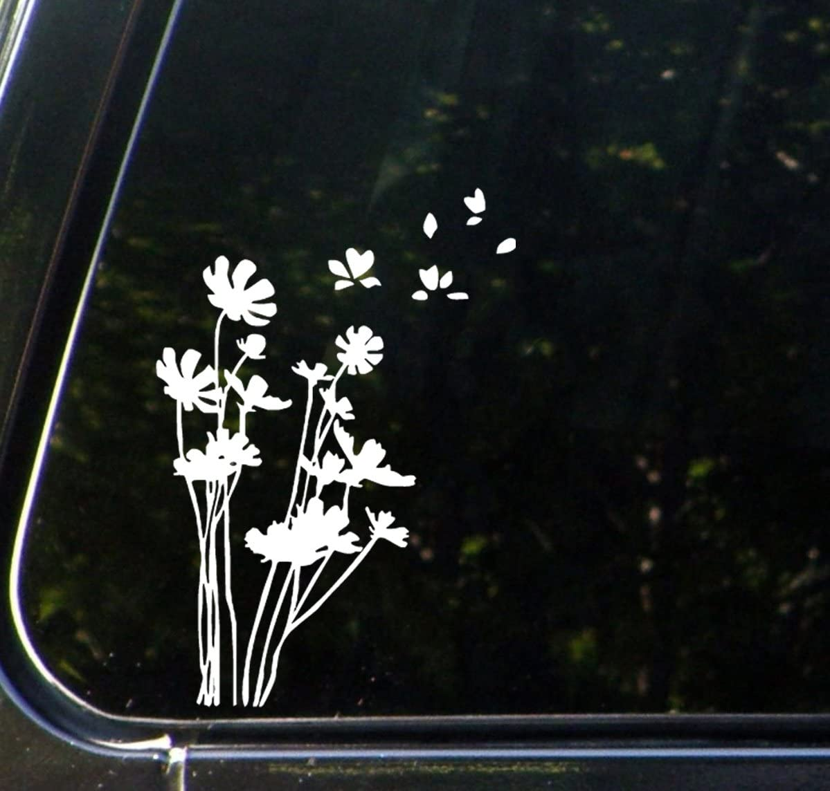"Flowers in The Wind - Car Vinyl Decal Sticker - (5.25""w x 7.5""h) (White)"