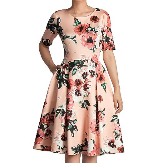 d592c23f16 GODTLIV Women s Vintage Scoop Neck Midi Dress Short Sleeve A-line Cocktail  Party Tank Dress