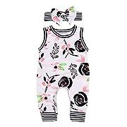 AILOM Newborn Infant Baby Boys Girls Flower Print Stripe Sleeveless Romper Summer Bodysuit Jumpsuit Outfits Headband (White, 6-12 M)