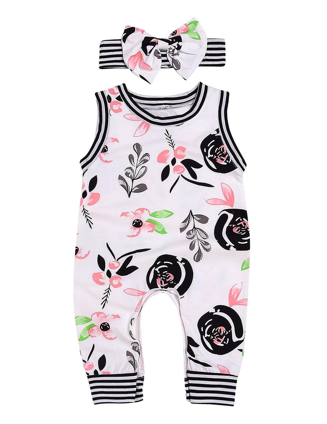 AILOM Newborn Infant Baby Boys Girls Flower Print Stripe Sleeveless Romper Summer Bodysuit Jumpsuit Outfits With Headband (White, 6-12 M)