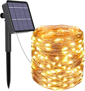 Kolpop Solar String Lights Outdoor, 78.7FT 240LED Solar Christmas Lights 8 Modes Copper Wire Solar Fairy Lights Outdoor Waterproof for Christmas Tree, Garden, Yard, Party, Camping, Patio,(Warm White)