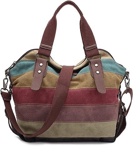 Damen Handtasche,KAUKKO Multi Color Striped Canvas Damen Handtasche Damen Wildleder Schultertasch Umhängetasche Für Frauen und Mädchen
