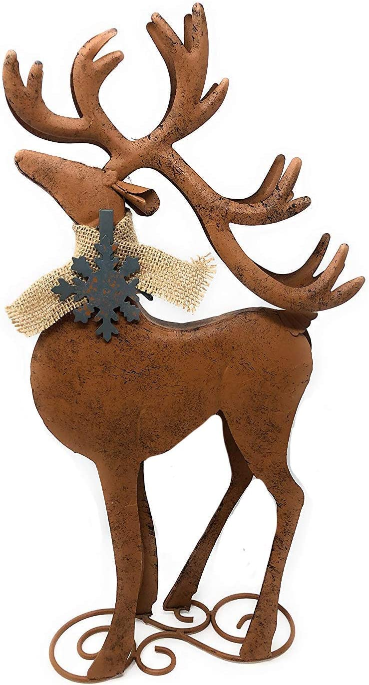 D.I.D. Reindeer Metal Rustic Statue Christmas Holiday Home Office Room Barn Decor Figurines Fireplace Indoor Outdoor Ornaments (Standing)