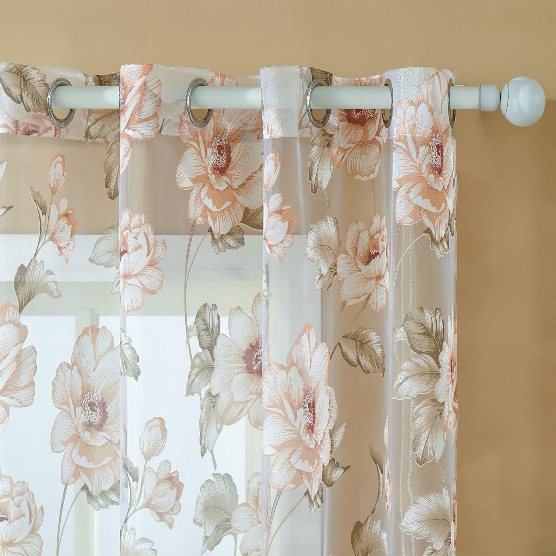 Top Finel brillant Pfingstrosen Blumen transparent Gardine Vorhang Deko f/ür Wohnzimmer Schlafzimmer mit /Ösen 140cmx215cm 1St Rosa
