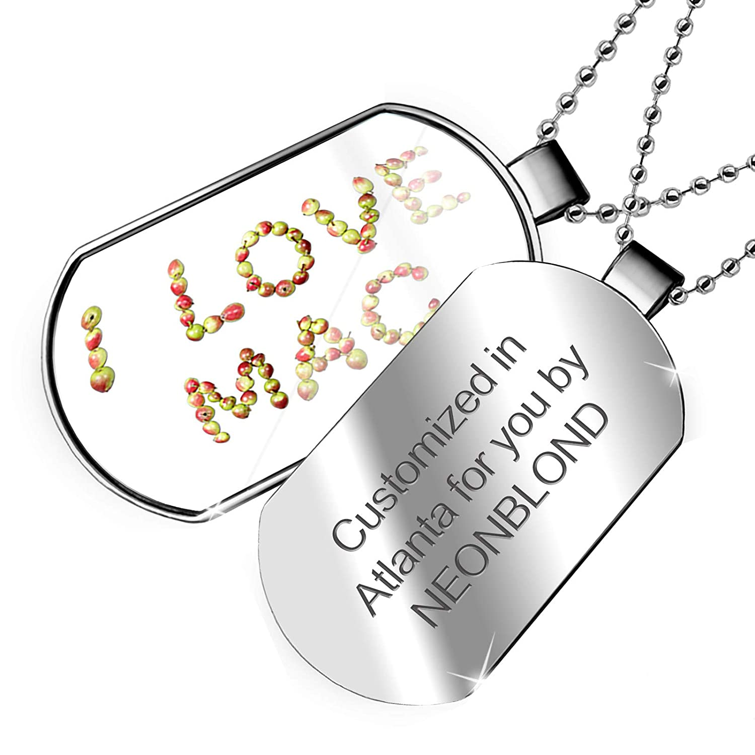 NEONBLOND Personalized Name Engraved I Love Mac Apples Dogtag Necklace