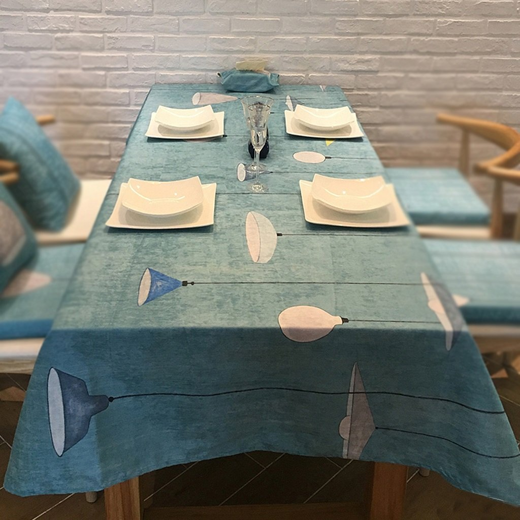 A 180x140cm A 180x140cm Gtt Heart lights tablecloths suede bluee and white tablecloths coffee table cloth modern simple table cloth (color   A, Size   180x140cm)