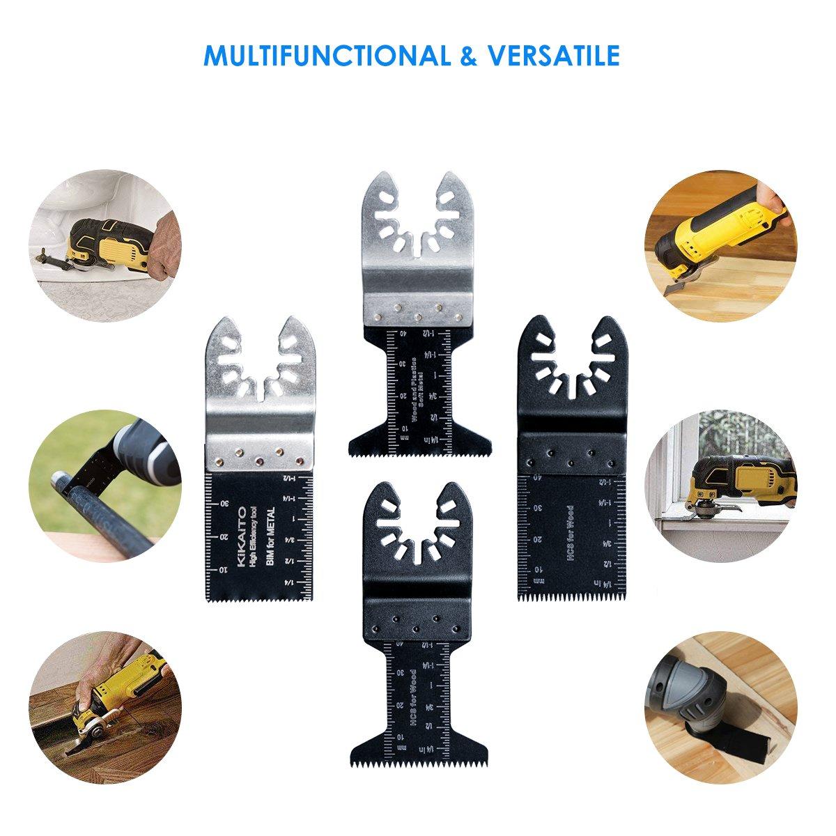 cuchillas mixtas para Fein Multimaster Porter Cable negro /& Decker Bosch Dremel Craftsman Juego de 20 hojas de sierra de liberaci/ón r/ápida multiherramienta oscilante de metal y madera