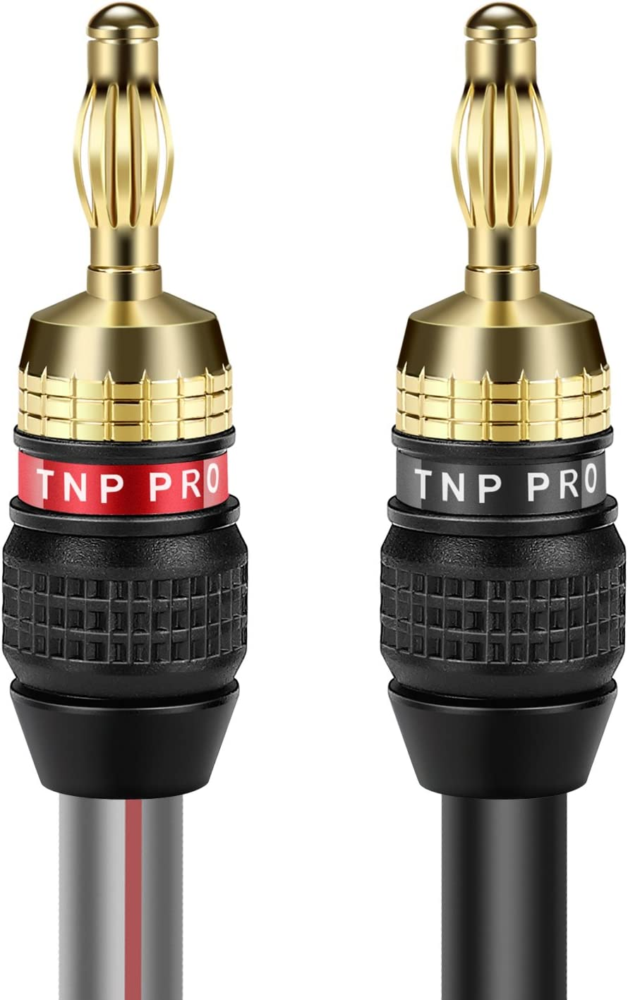 TNP 12 Gauge Speaker Cable with Banana Adapter Plugs High Count Strand 12 AWG Electrical Speaker Wire Connector Cord 24K Gold Plated /& Corrosion Resistant for Home Theater System 3M