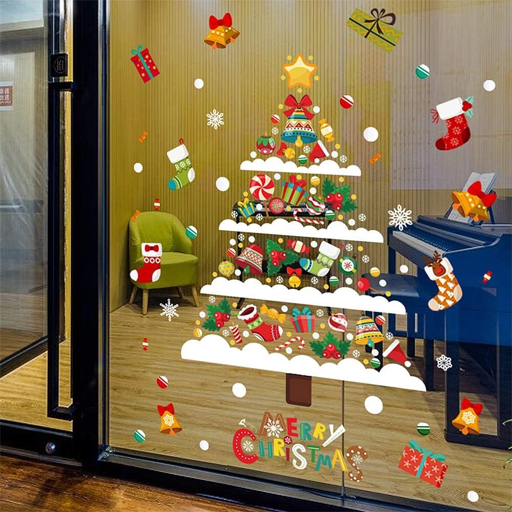 Combinaison decoration noel fenetre Flocons neige No/ël,Sapin de No/ël stickers pour fenetre,Stickers Porte de Bonhomme de Neige Santa (No/ël AS-74x89cm)
