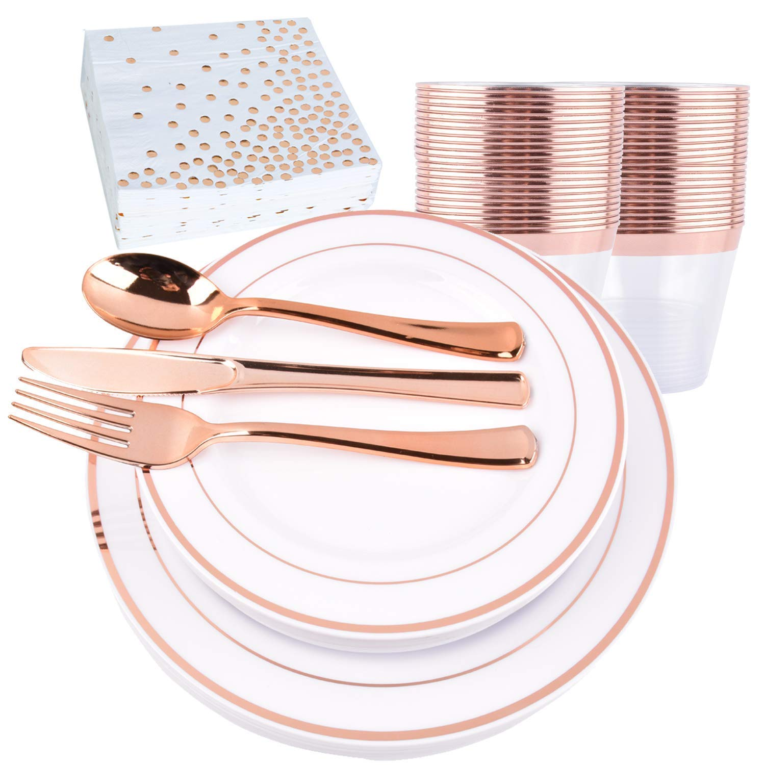 H3 Innovations-200pc Rose Gold Plastic Plates, Rose Gold Silverware, Rose Gold Plates, Rose Gold Cups, Rose Gold Napkins, Rose Gold Straws, Rose Gold Disposable Dinnerware by H3 Innovations (Image #2)