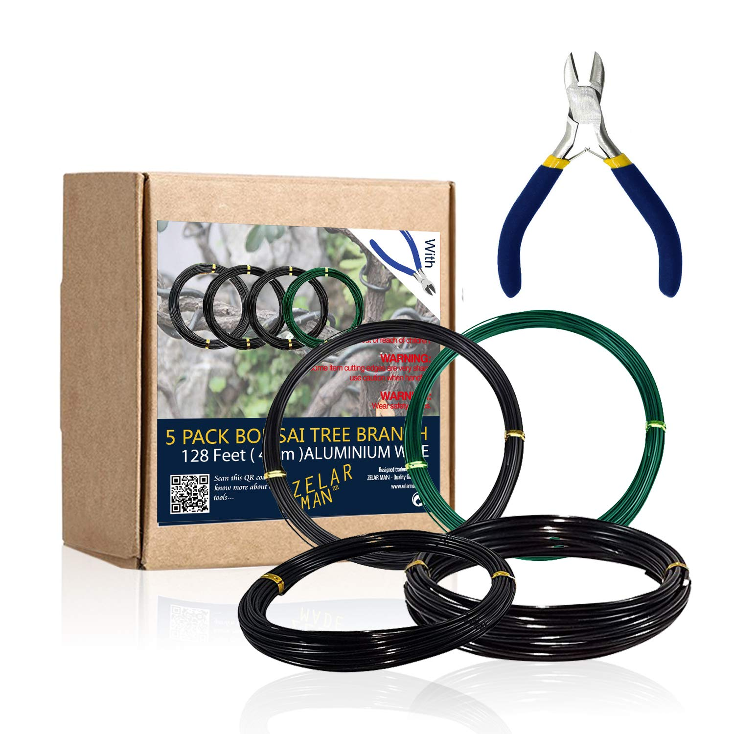 Bonsai Training Wire Set of 4 - Total 128 Feet(32 Feet Each Size) 3 Size - 1.0MM, 1.5MM, 2.0MM - Corrosion and Rust Resistant by ZELARMAN