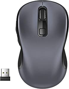 WisFox Computer Wireless Mouse, 2.4G Wireless Ergonomic Mouse Portable Cordless Optical Mice for Laptop PC with USB Receiver, 3 Adjustable DPI Levels, 6 Buttons for Work, Study, Home, Travel (Grey)