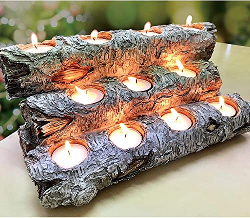 USAWAREHOUSE Tealight Fireplace Log Candle Holder 12 inches Long