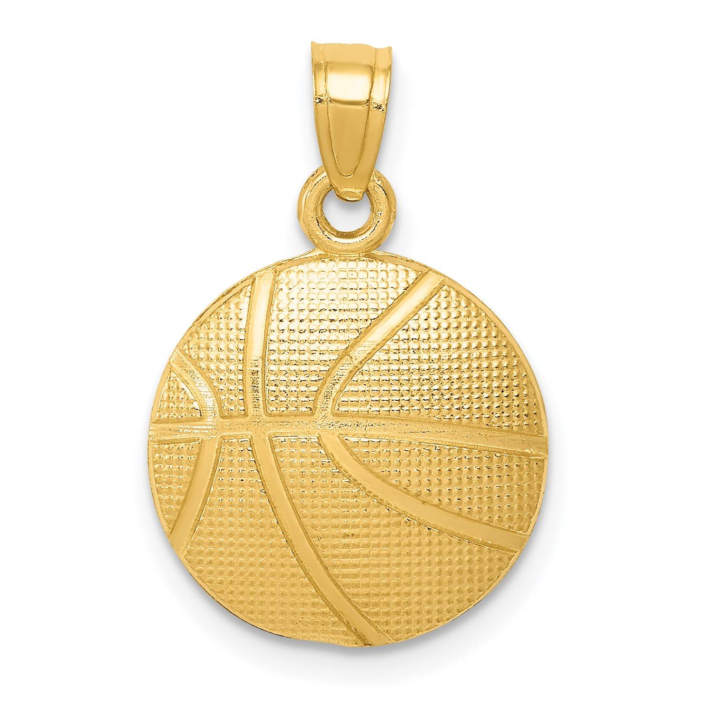 14k Yellow Gold Basketball Pendant 21x14mm