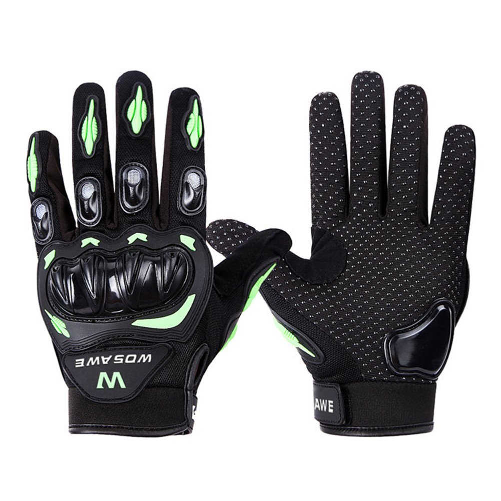 Wonzone Alloy Steel Knuckle Gloves Sport Shooting Paintball Hunting Riding Motorcycle Riding summer gloves (Black&Green, X-Large)