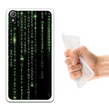 WoowCase Funda Sony Xperia Z2, [Sony Xperia Z2 ] Funda Silicona Gel Flexible Código Verde Matrix, Carcasa Case TPU Silicona - Transparente