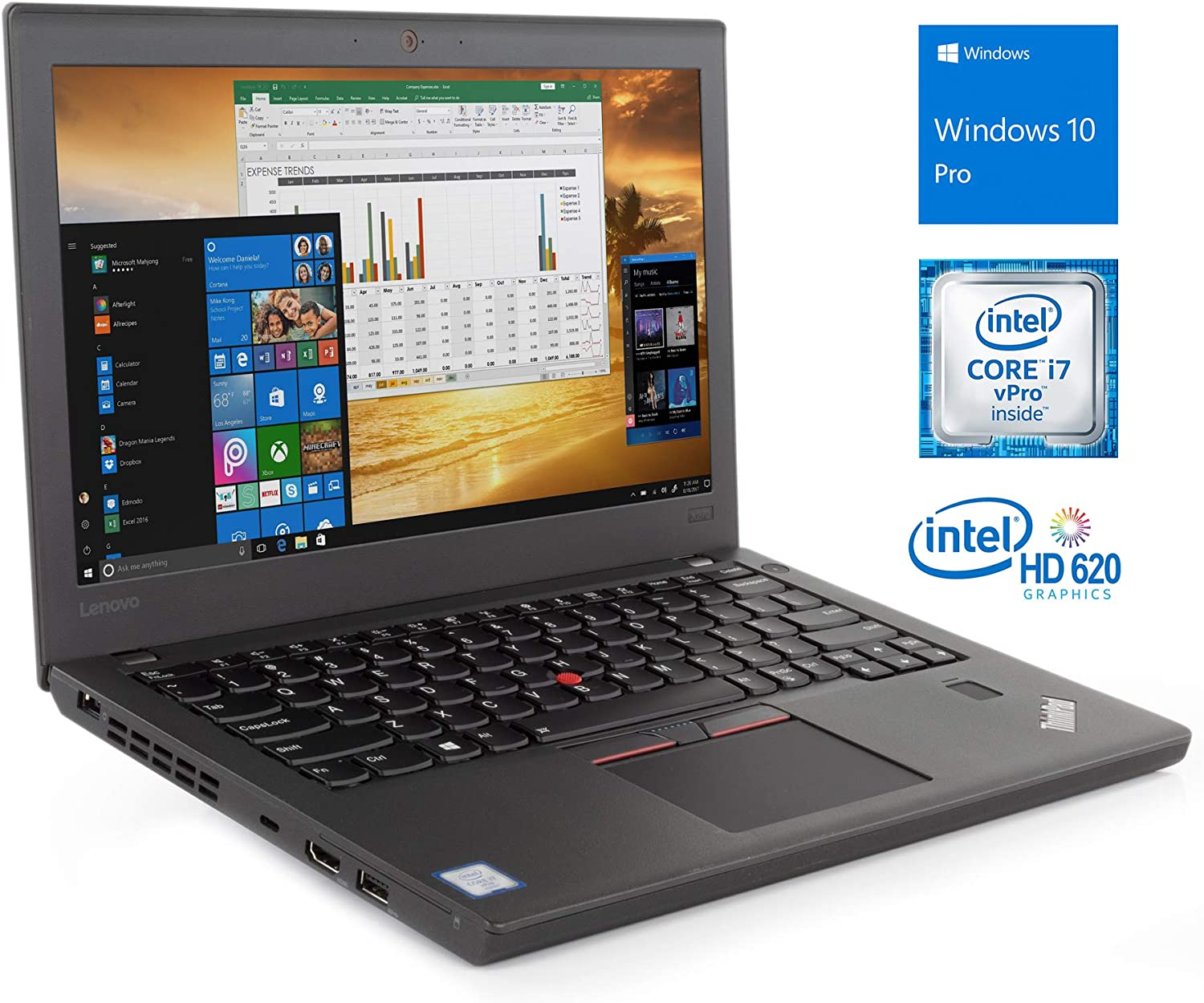 "Lenovo ThinkPad X270 Notebook, 12.5"" IPS HD, Intel Dual-Core i7-6600U Upto 3.4GHz, 16GB RAM, 256GB SSD, HDMI, Card Reader, Backlit Keyboard, Wi-Fi, Bluetooth, Windows 10 Pro"