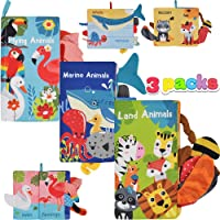 JOYIN 3 Packs Soft Baby Cloth Books Touch and Feel for Babies Crinkle Books Infants & Toddler Early Development…
