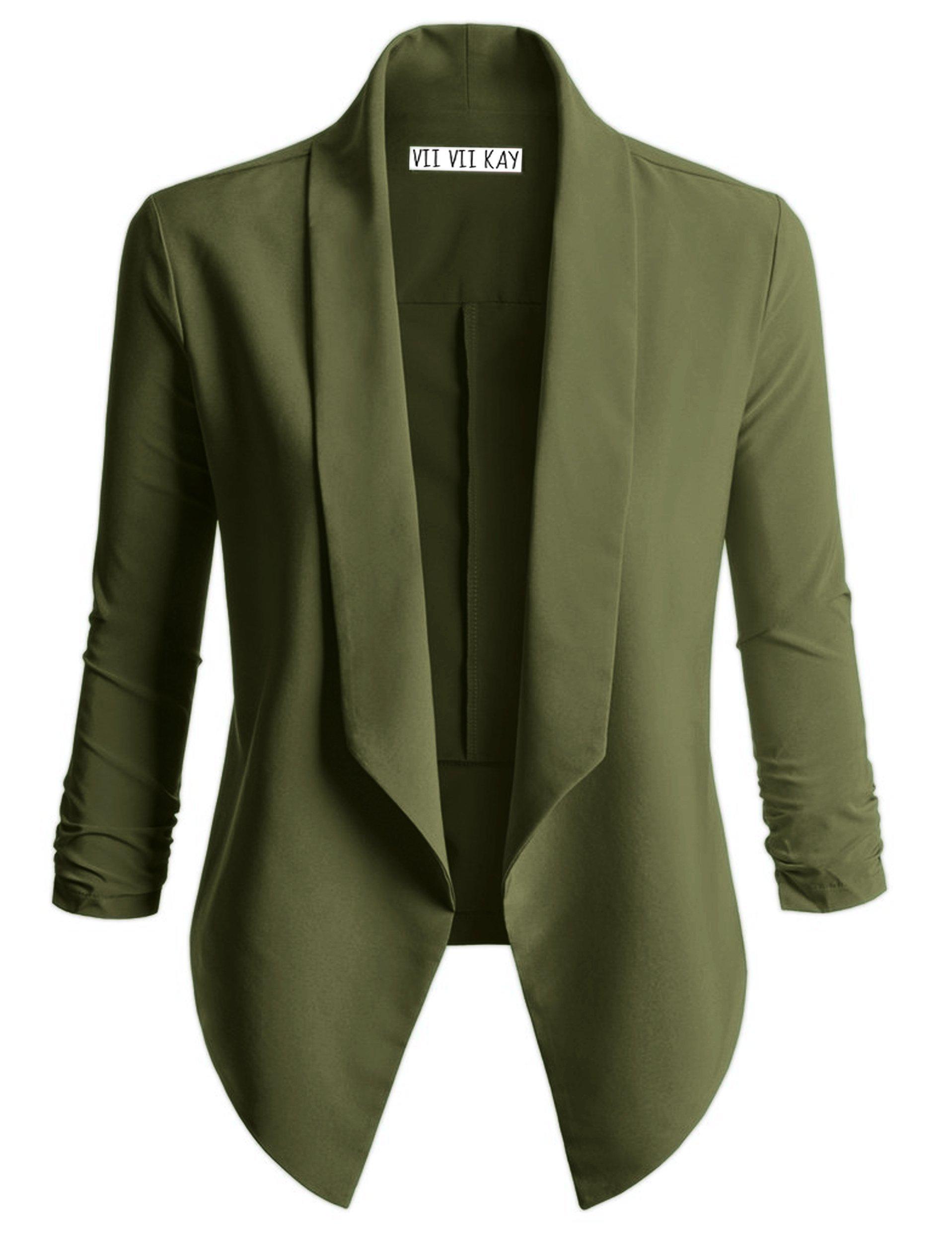 ViiViiKay Women's Versatile Business Attire Blazers in Multiple Styles 37_Olive XL