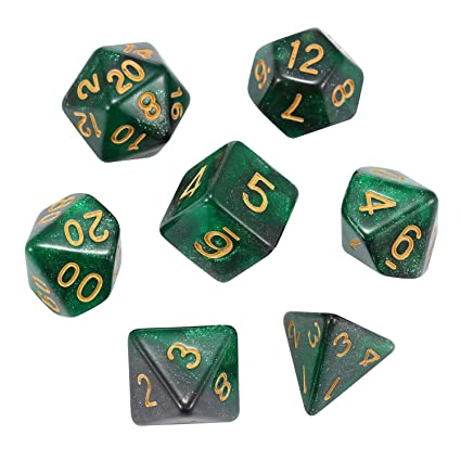 Acrylic Dice Set Polyhedral  Green Black Dice For D/&D RPG MTG Party Game